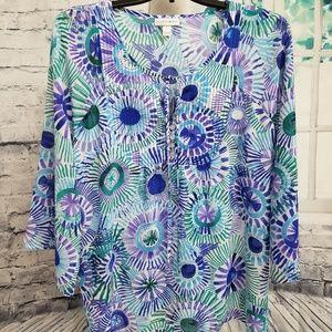 Pinwheels Tunic in Purple, Green & Blue, Size Lg